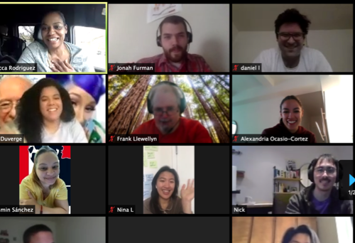 A team of campaign staff and volunteers on a video call with Congresswoman Ocasio-Cortez