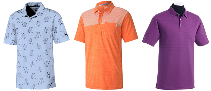 Golf Shirts With Vibrant Colors and Repeating Graphics