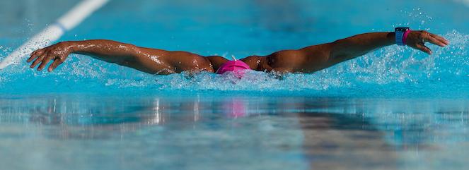 Female swimmer doing butterfly stroke