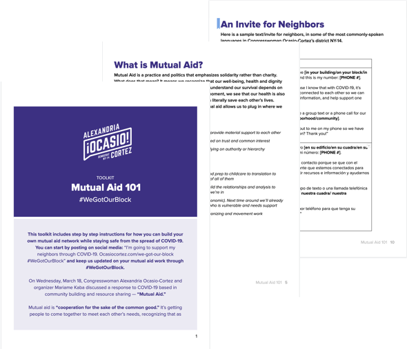 Stacked images of the first 3 pages of the Mutual Aid 101 Toolkit