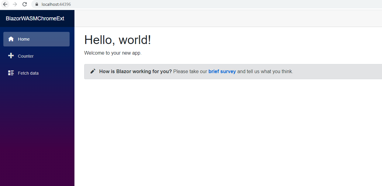 Blazor sets up your default web app with a plain Hello World page. Let's customize it