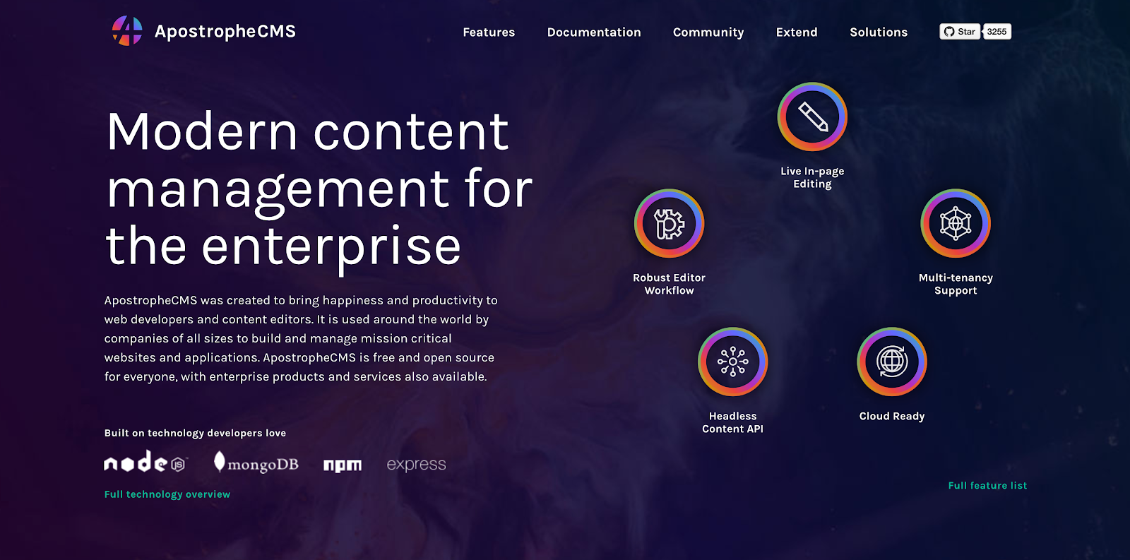 ApostropheCMS is a Javascript-based CMS with drag-and-drop editors that's free to download
