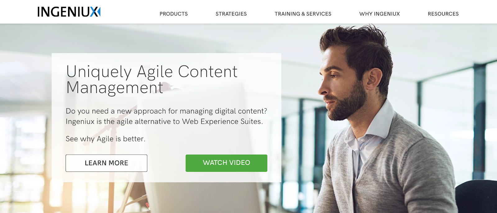 Ingeniux CMS is one of the oldest Agile content experiences around, founded in 1999