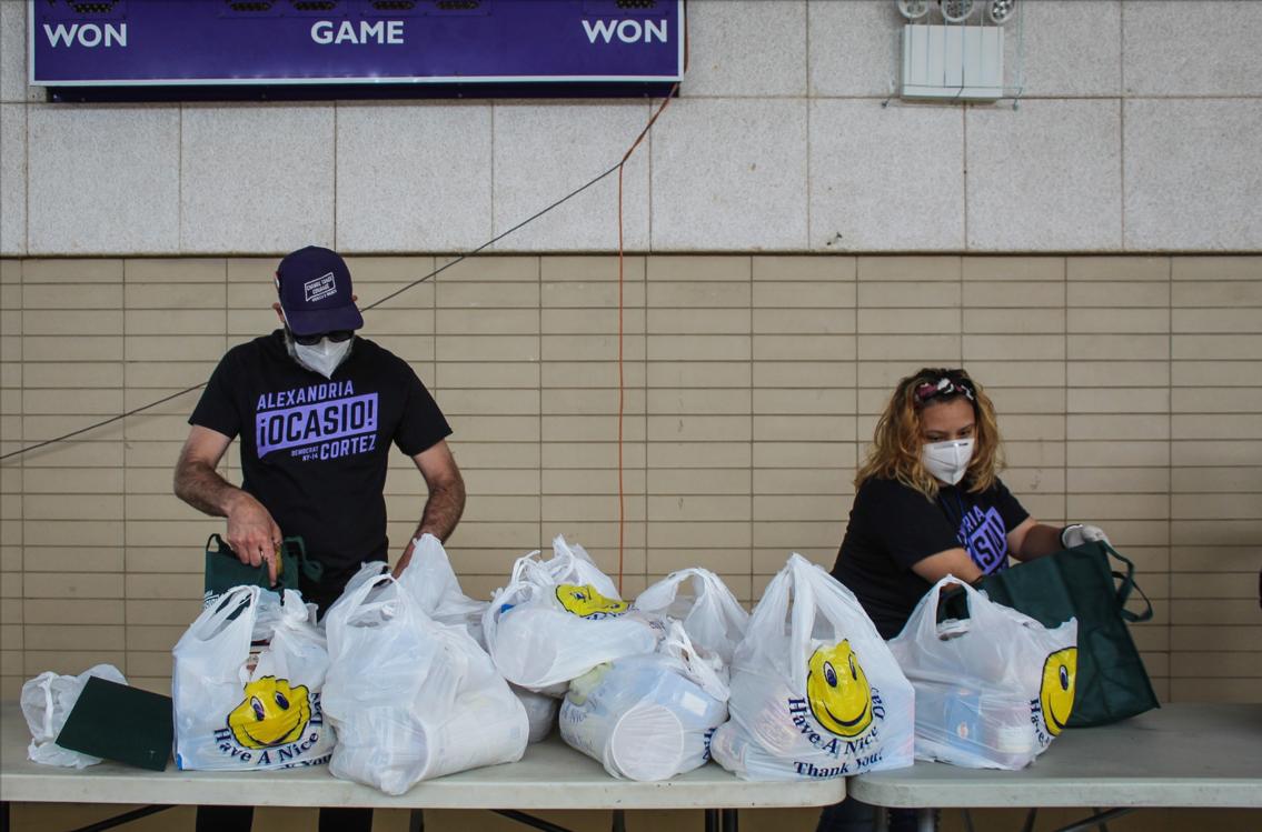 Volunteers preparing food supplies