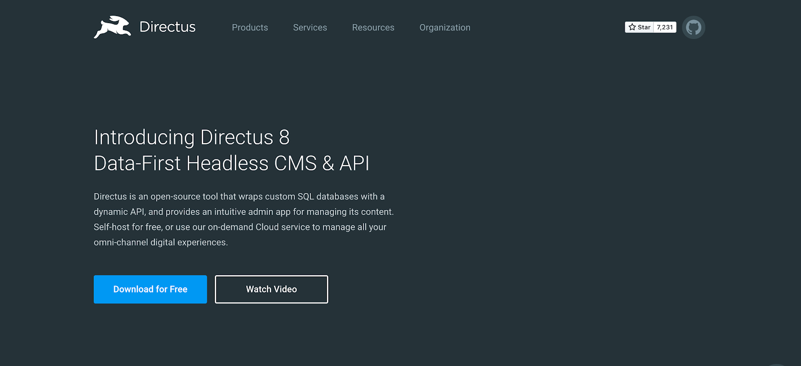 SQL based Directus is a data first headless CMS and API that allows self-hosting