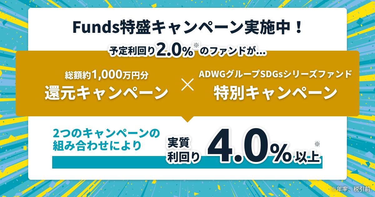 【実質利回り4.0%以上】Funds特盛キャンペーンのお知らせ
