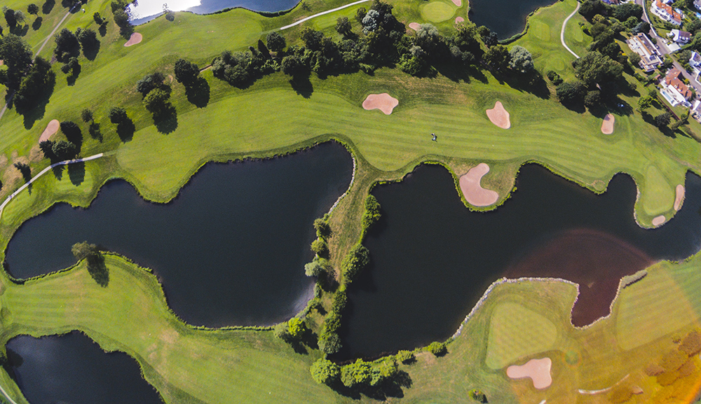 Water Hazard on Golf Course (Aerial View)