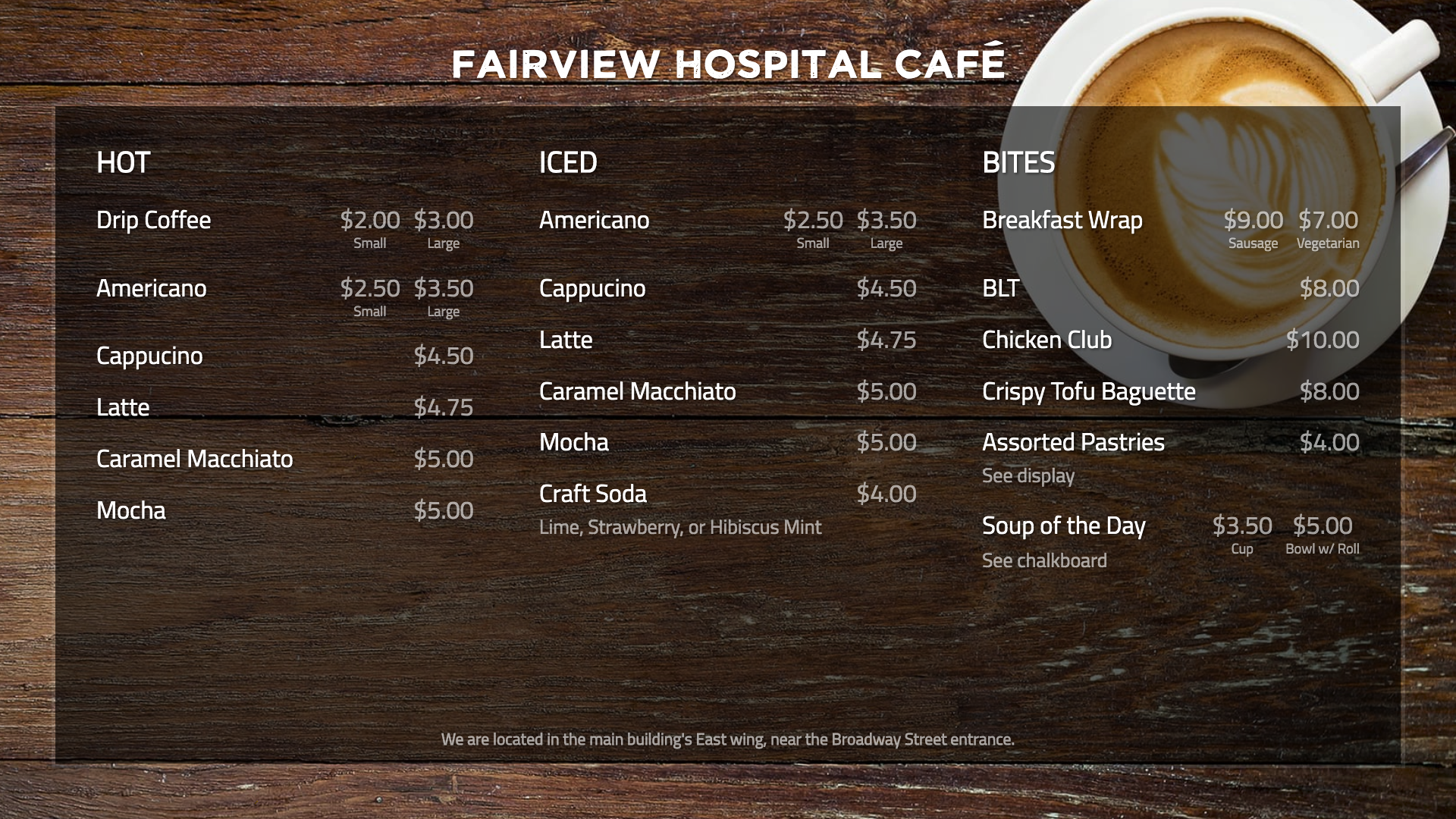 digital menu board for healthcare example