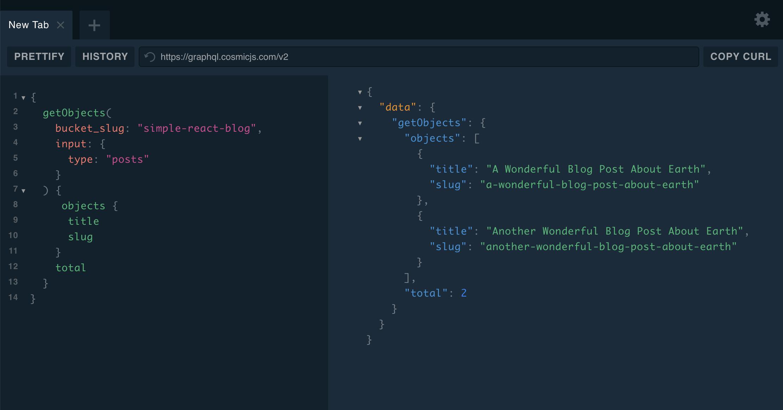 Cosmic GraphQL API