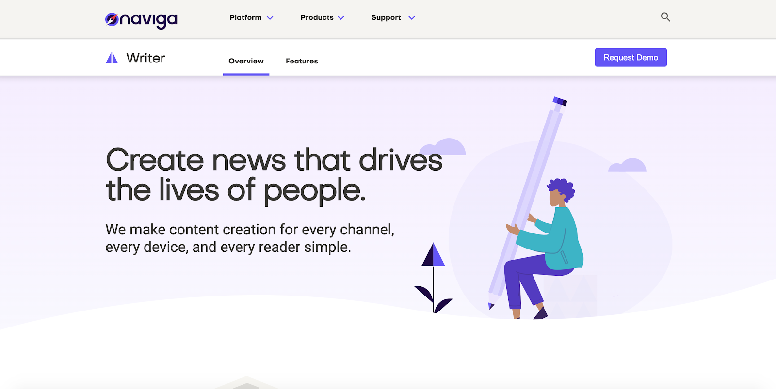 Naviga Writer is a CMS created primarily for journalists and writers, integrating some powerful machine learning functions to enhance productivity