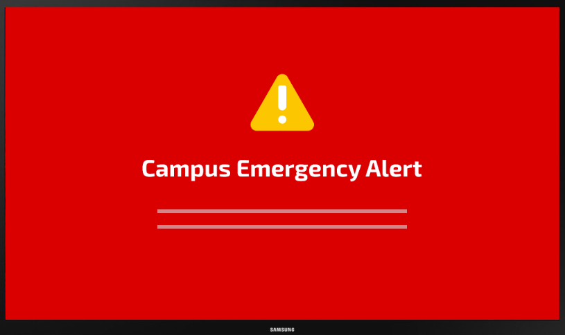 digital signage emergency alert example