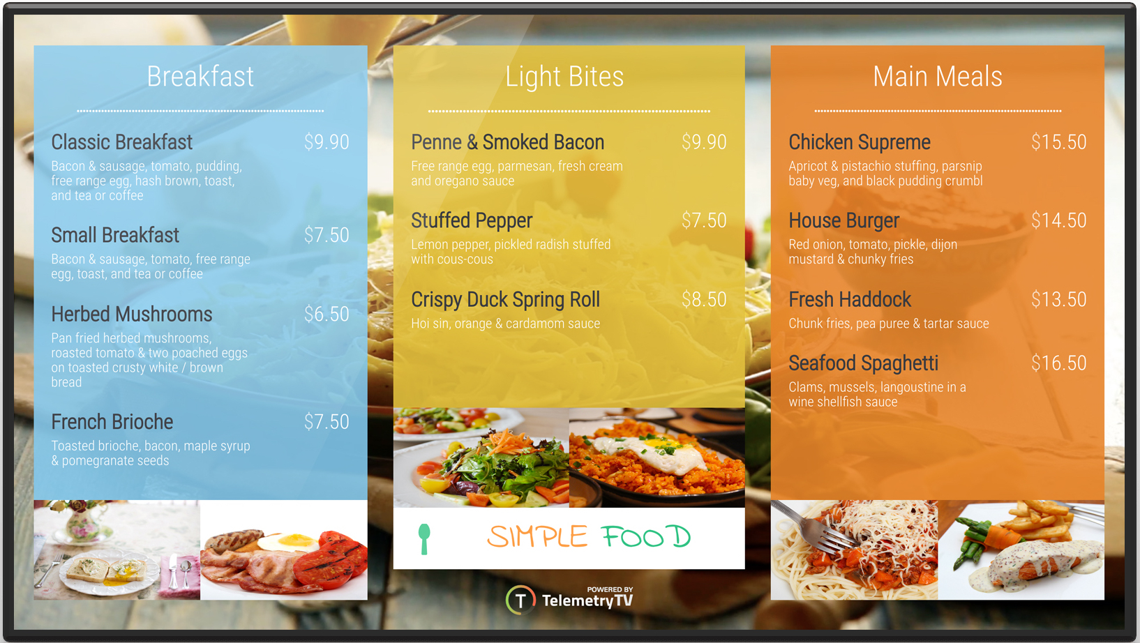 digital menu board for restaurant example