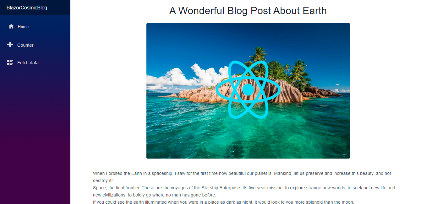 "After our final edits, our blog posts now display more detail when we click ""read more."" We now have a fully-functioning blog!"
