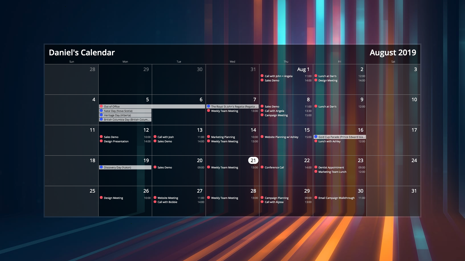 Calendar for Digital Signage carousel 2