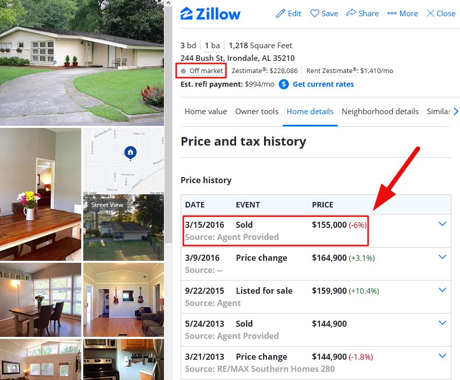 does off-market mean sold on zillow