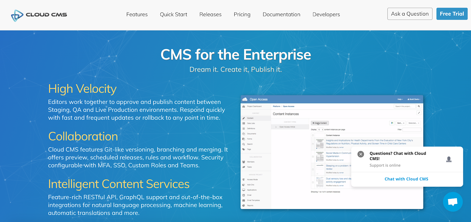Cloud CMS is a decoupled Enterprise Headless content management platform