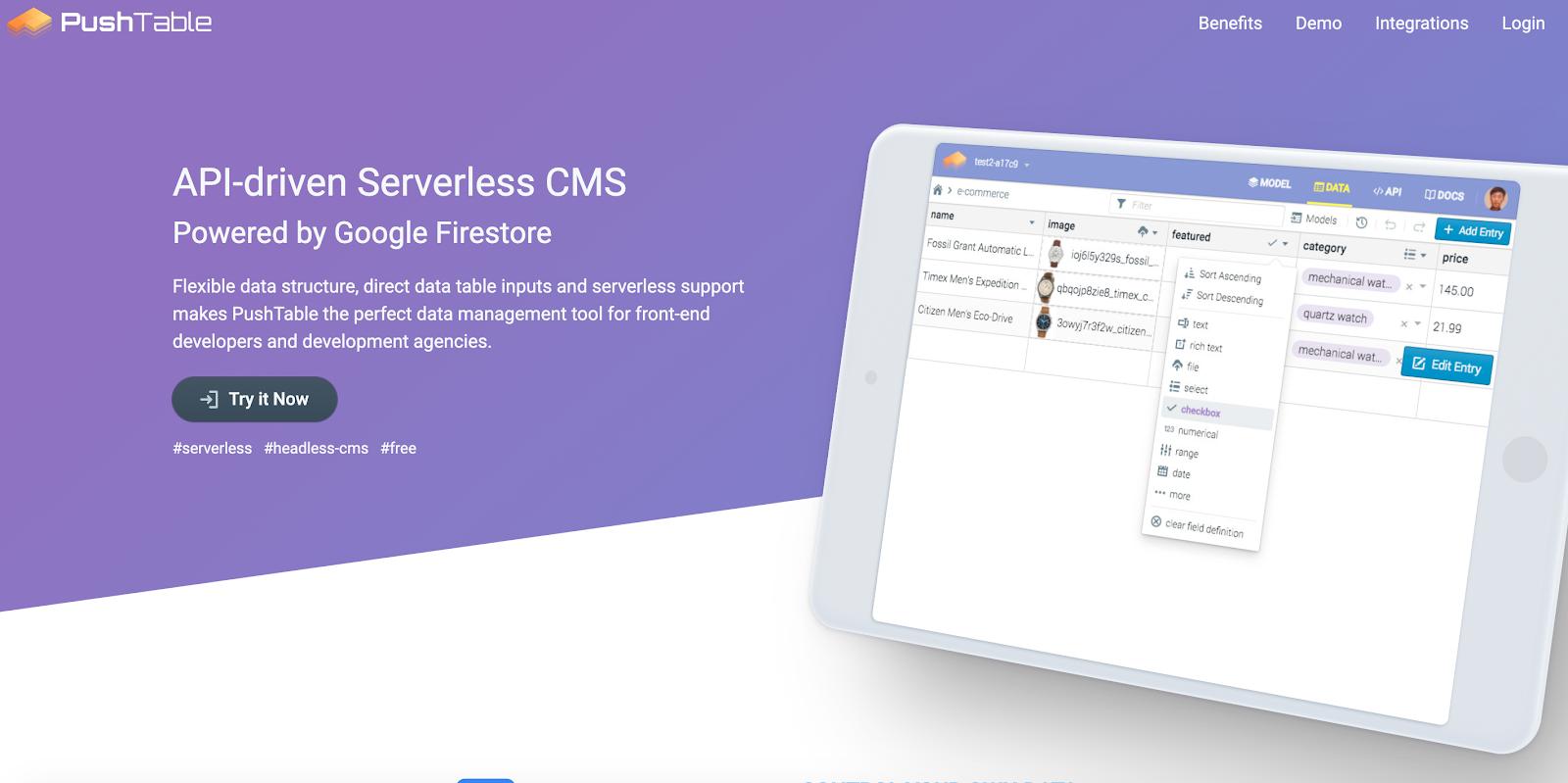 PushTable utililzes Googles global CDN for snappy serverless delivery