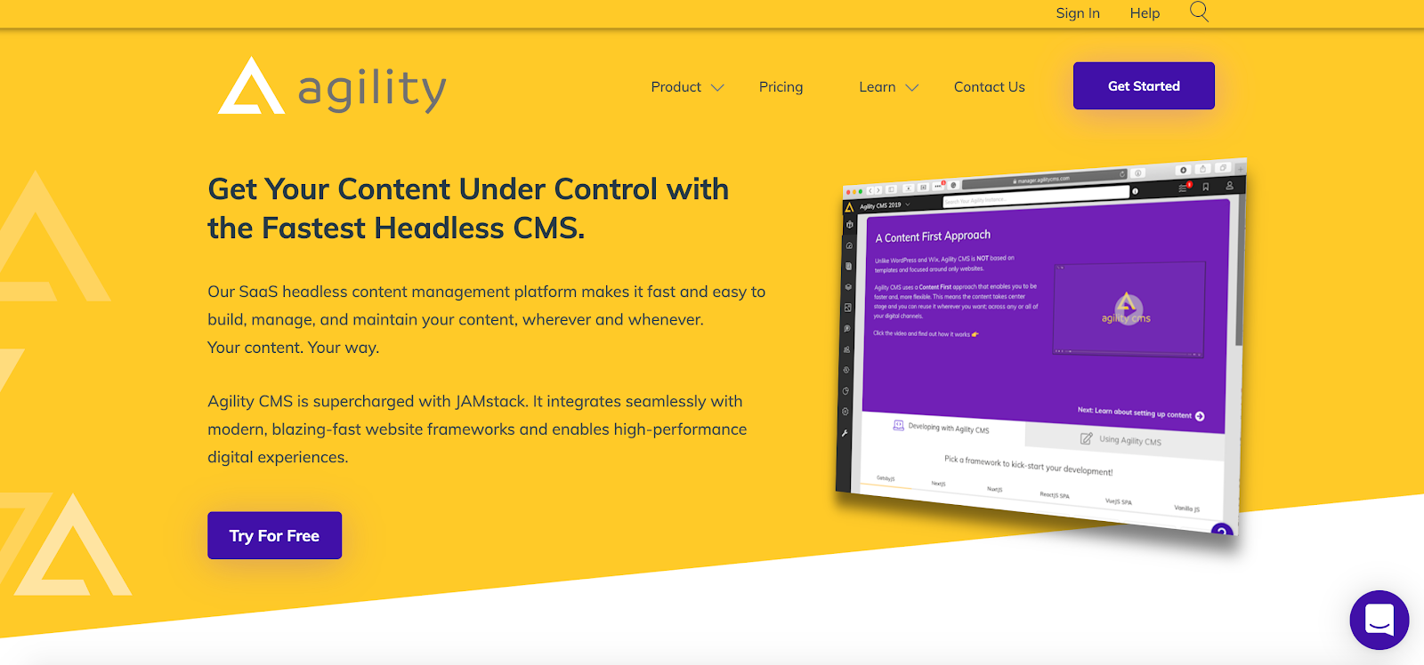 Agility CMS is a lightning-quick Headless CMS for users various levels of technical ability
