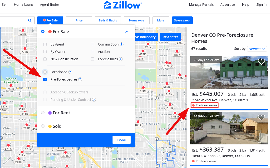 pre-foreclosure properties zillow