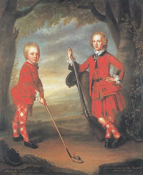 The MacDonald Boys Playing Golf Painting, William Mosman, 18th Century