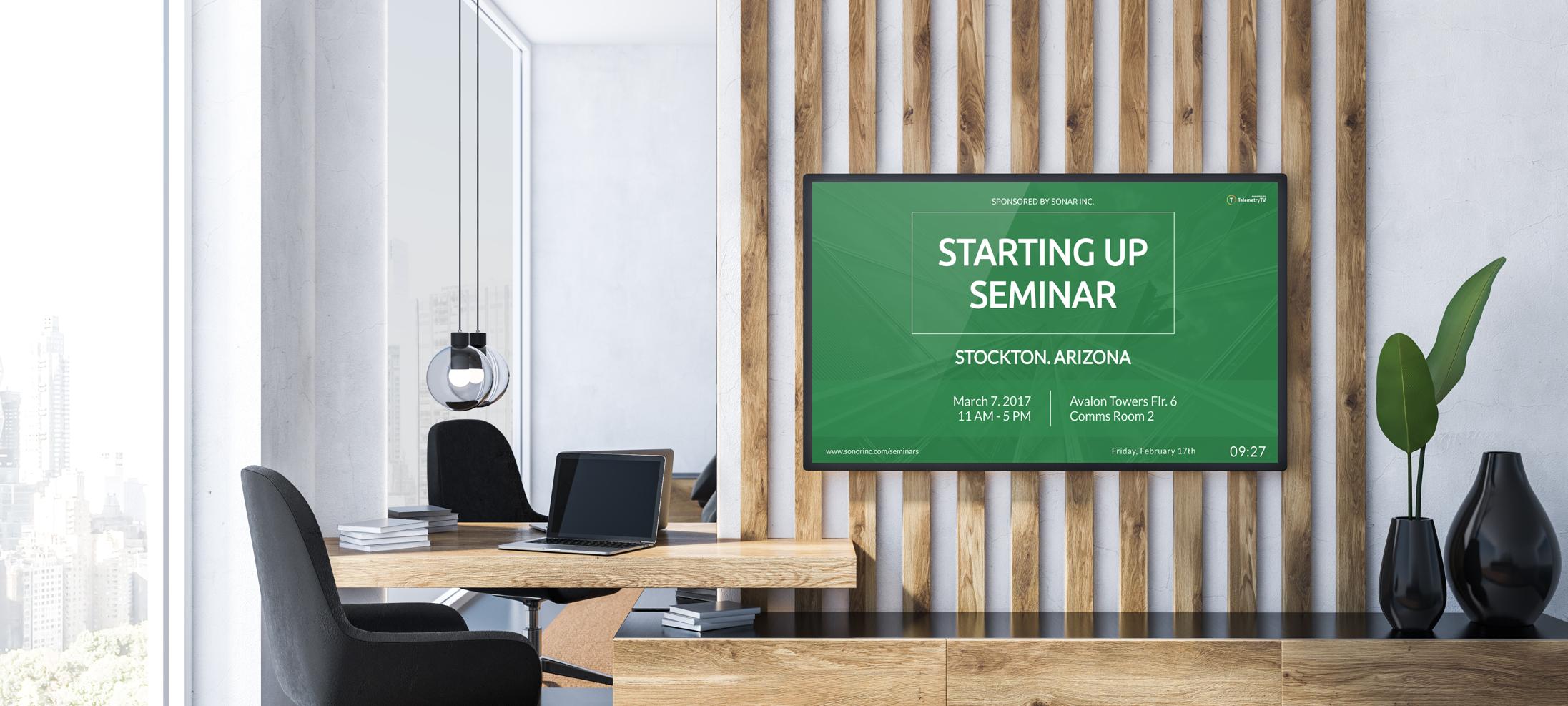 cloud based meeting room digital signage example