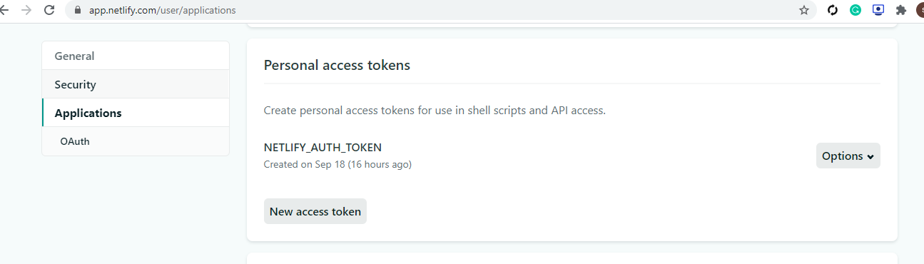 Getting started with Netlify, first we must grab our Personal Access Token