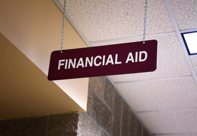 Financial Aid sign hanging from ceiling